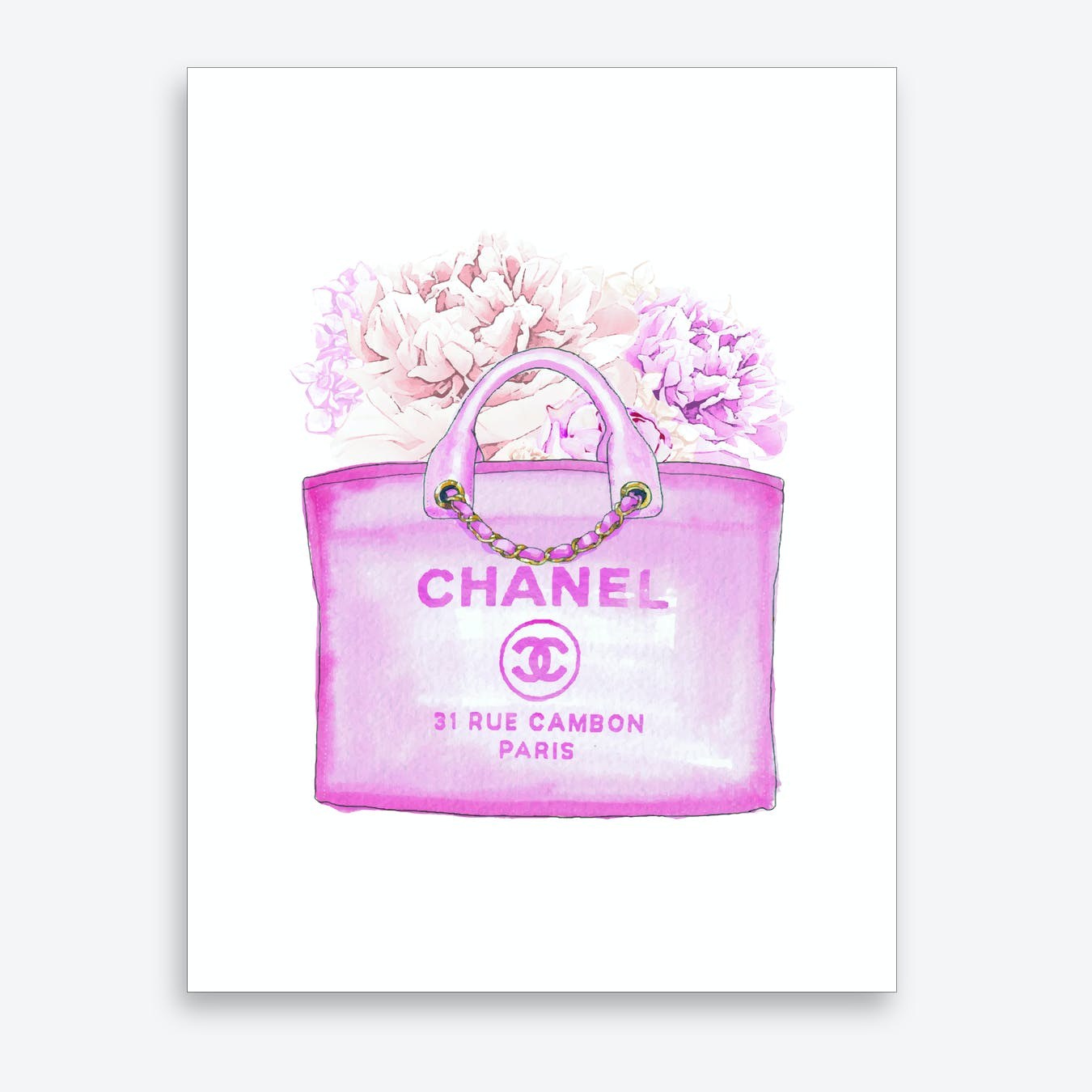Pink Chanel Floral Bags Art Print