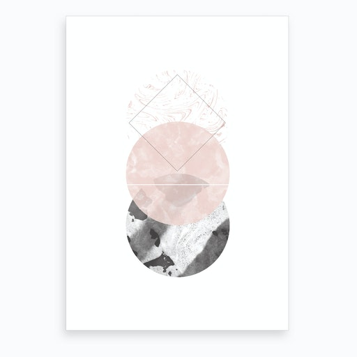 Three Pink & Black Marble Circles Art Print