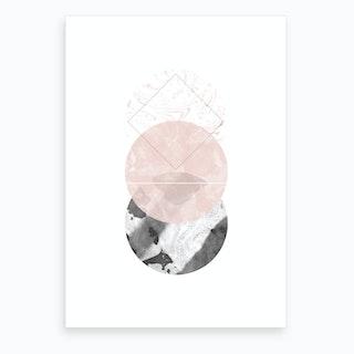 Three Pink & Black Marble Circles Art Print