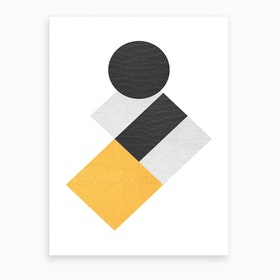 Yellow Grey and Black Rectangles with Circle Abstract Art Print