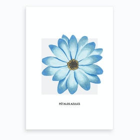 Blue Flower & Grey Box Art Print