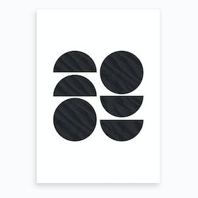 Six Black Half and Full Circles Abstract Art Print