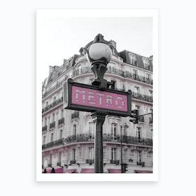 Black & White Pink Metro Art Print