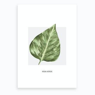 Green Leaf & Grey Box Art Print