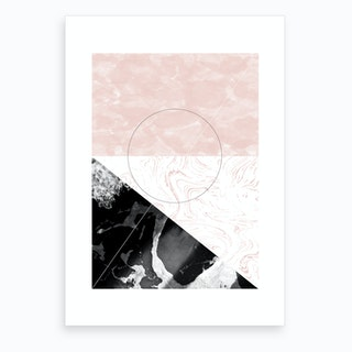 Rectangle Pink & Black Marble Abstract Art Print