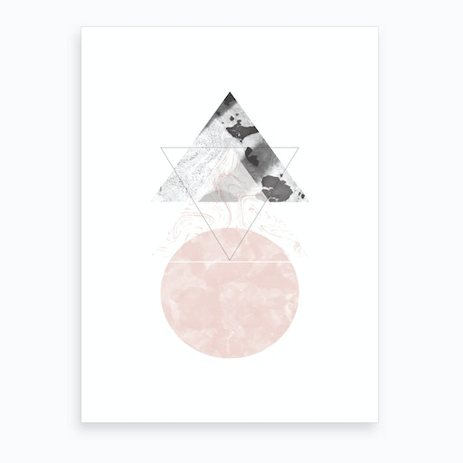 Triangle Pink & Black Marble Abstract with Circle Art Print