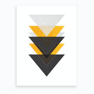 Yellow Grey and Black Six Triangles Abstract Art Print