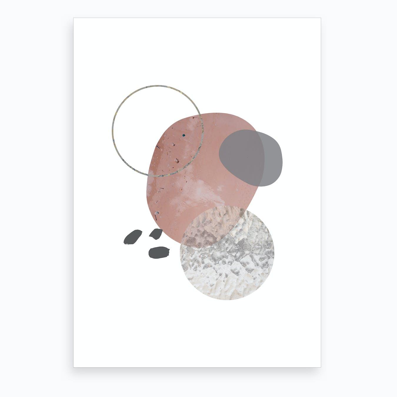 Peach Pebel & Glass Abstract Art Print