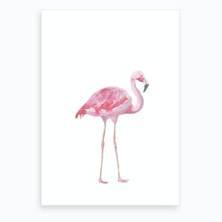 Pink Watercolour Flamingo Art Print