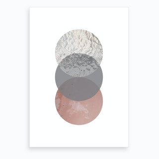 Three Circles Peach Sand and Glass Abstract Art Print
