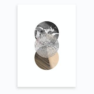 Three Sand Glass & Black Marble Circle Abstract Art Print