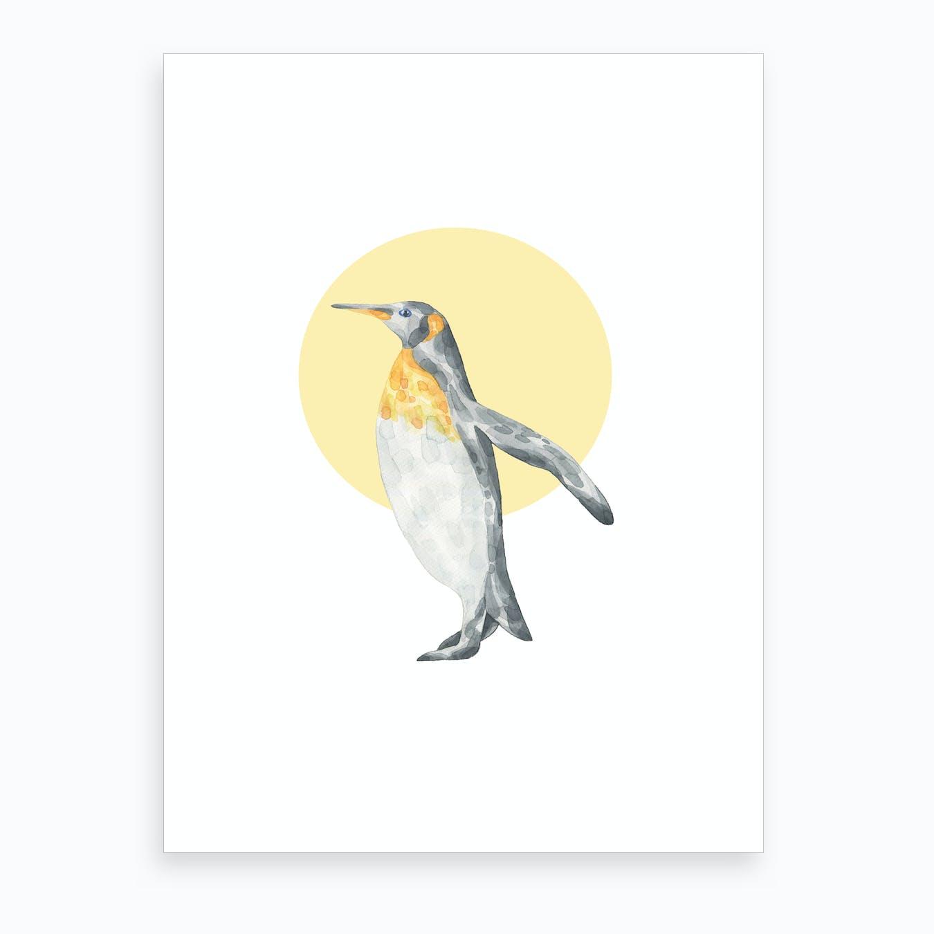 Watercolour Penguin Art Print