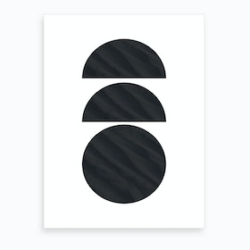 Three Black Half and Full Circles Abstract Art Print