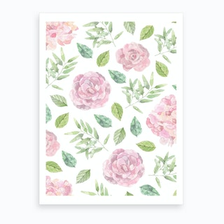 Pink Rose & Green Leafs Floral Patterm Art Print