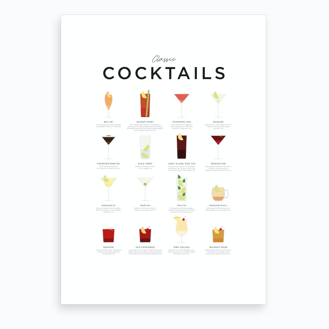 Classic Cocktails Art Print