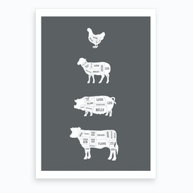 Butcher Chart (Solid) Art Print