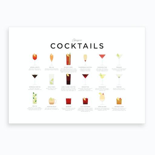 Classic Cocktails Landscape Art Print