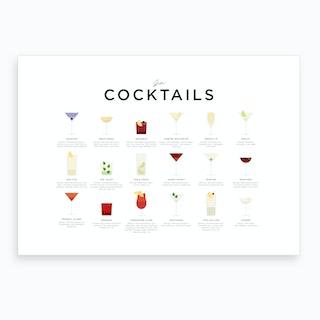 Gin Cocktails Landscape Art Print