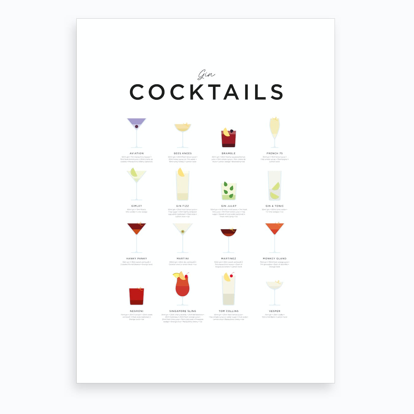 Gin Cocktails Art Print