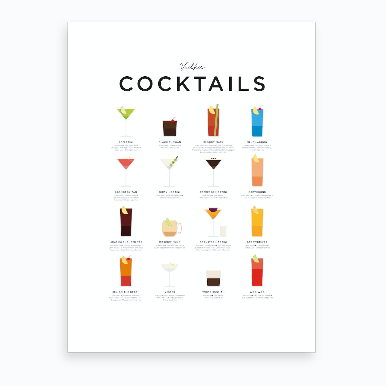 Vodka Cocktails Art Print
