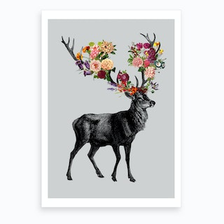 Spring Itself Deer Floral Art Print