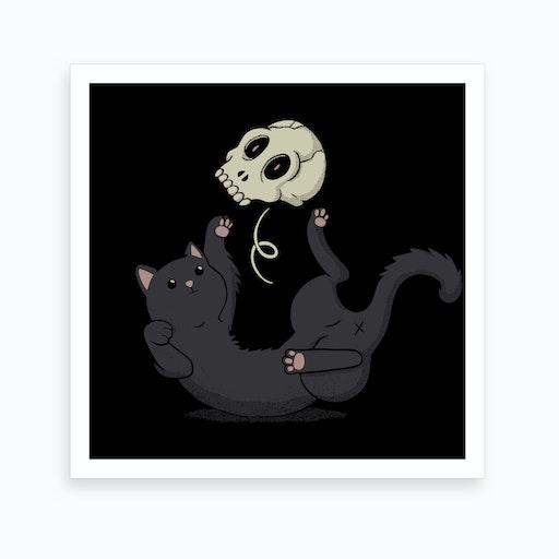 Skull Black Cat Art Print