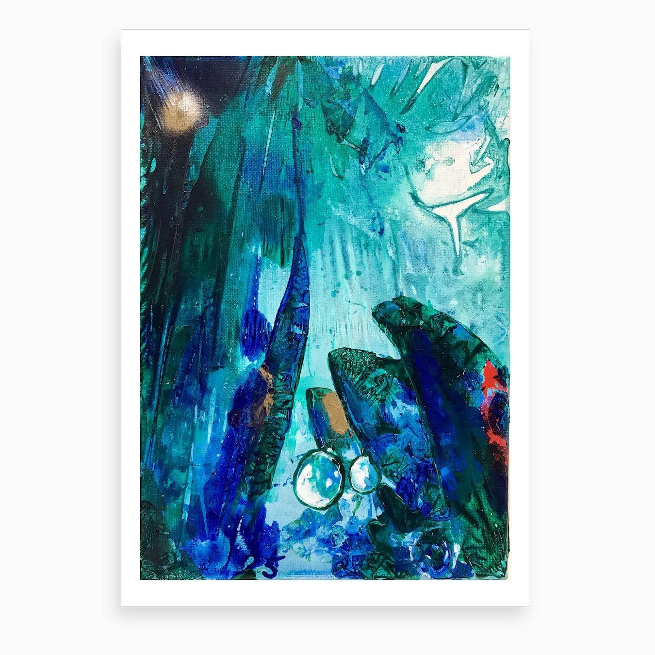Bright Ocean Life, Tiny World Collection Art Print