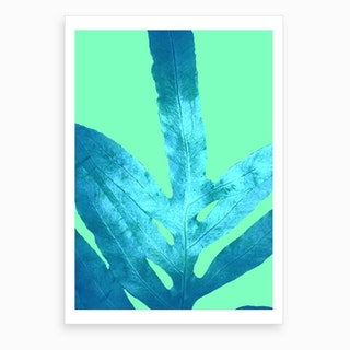 Fall Fern Leaf Winter Ice Art Print