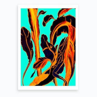 Blue Succulent Fire Teal Art Print Art Print