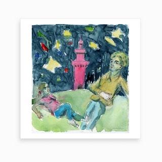 Tower Night Shapes Art Print