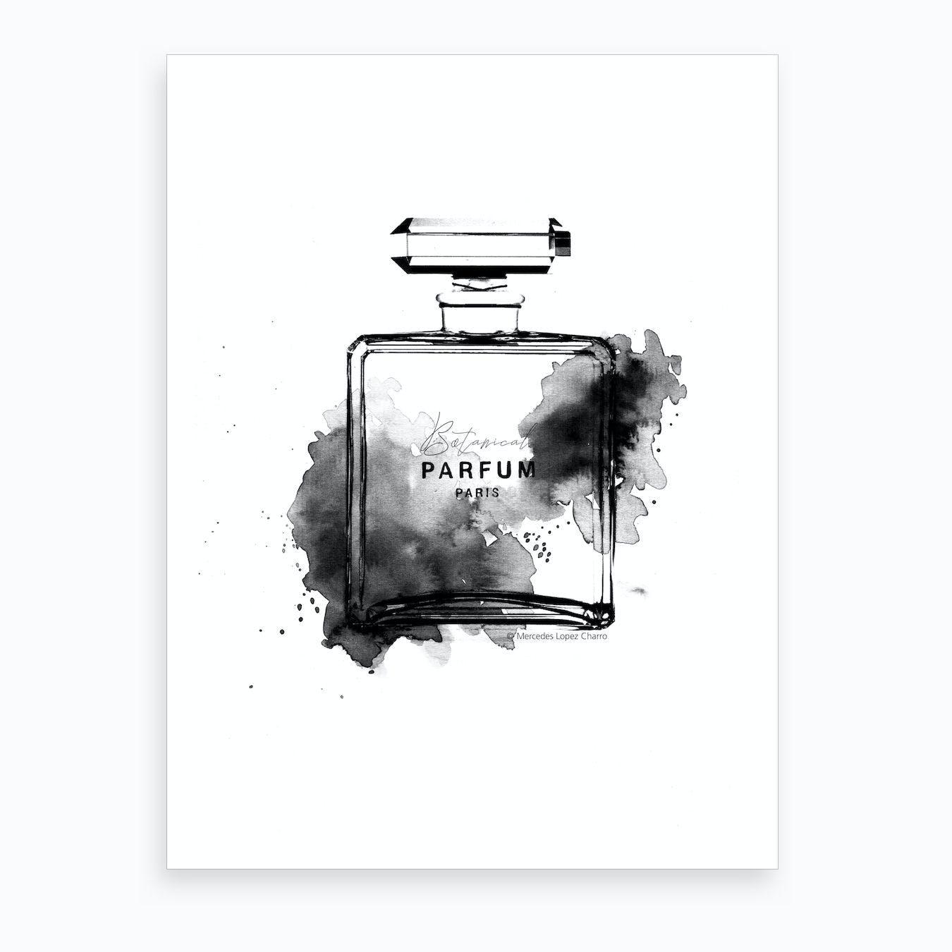 Botanical Parfum Black & White Art Print
