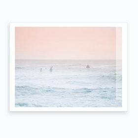 Foggy Pink Beach Art Print