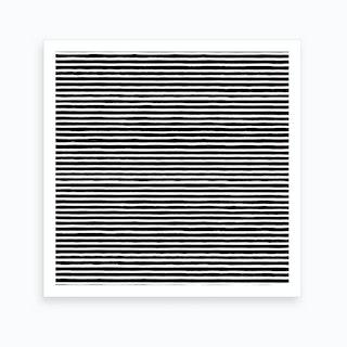 Marker Black Stripes Square Art Print