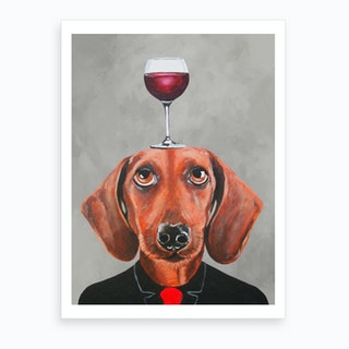 Dachshund With Wineglass Art Print