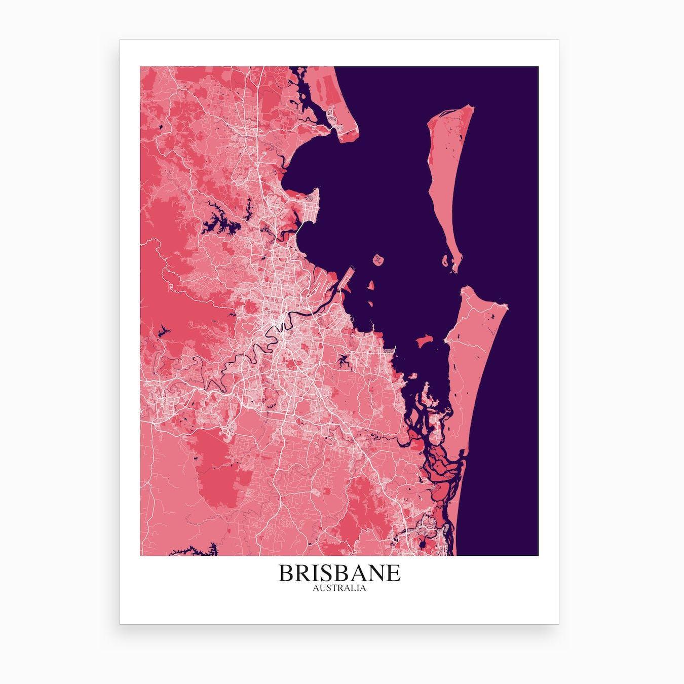 Brisbane Pink Purple Map Art Print