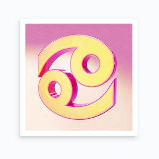 Zodiac Pink And Yellow Sign Cancer Art Print