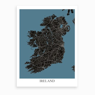 Ireland Black Blue Map Art Print