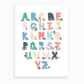 Illustrated Alphabet Chart  Rainbow Colours  Art Print