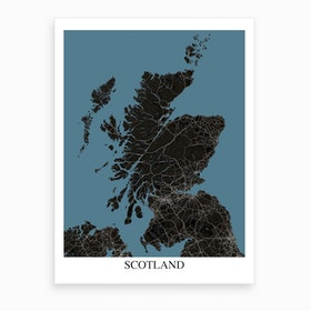 Scotland Black Blue Map Art Print