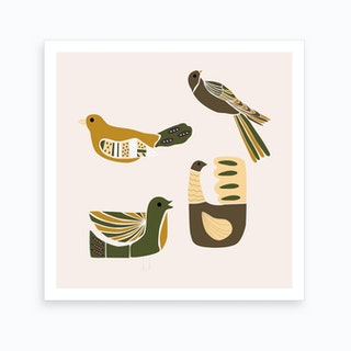 Folkie Elegant Birds 1 Art Print