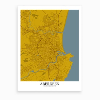 Aberdeen Yellow Blue Map Art Print