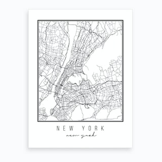 New York New York Street Map Art Print