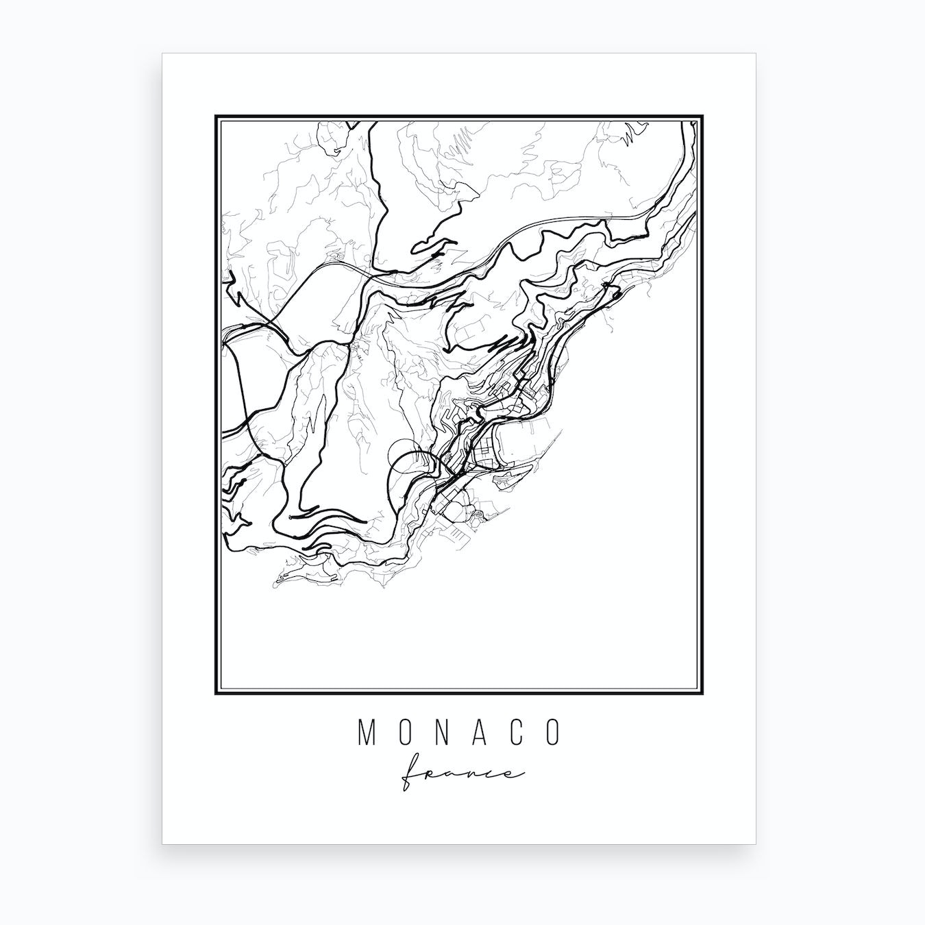 Map Of France To Print.Monaco France Street Map Art Print