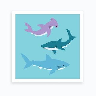 Sharks 2 Art Print