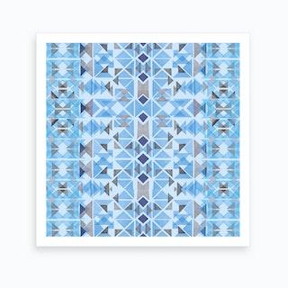 Boho Nomadic Tribal Blue Art Print