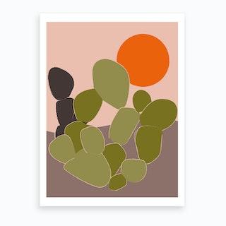 Desert Cactus I Art Print