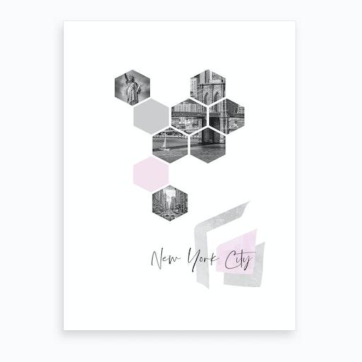 Urban Design New York City No 3 Pink Art Print