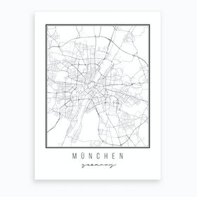 München Germany Street Map Art Print