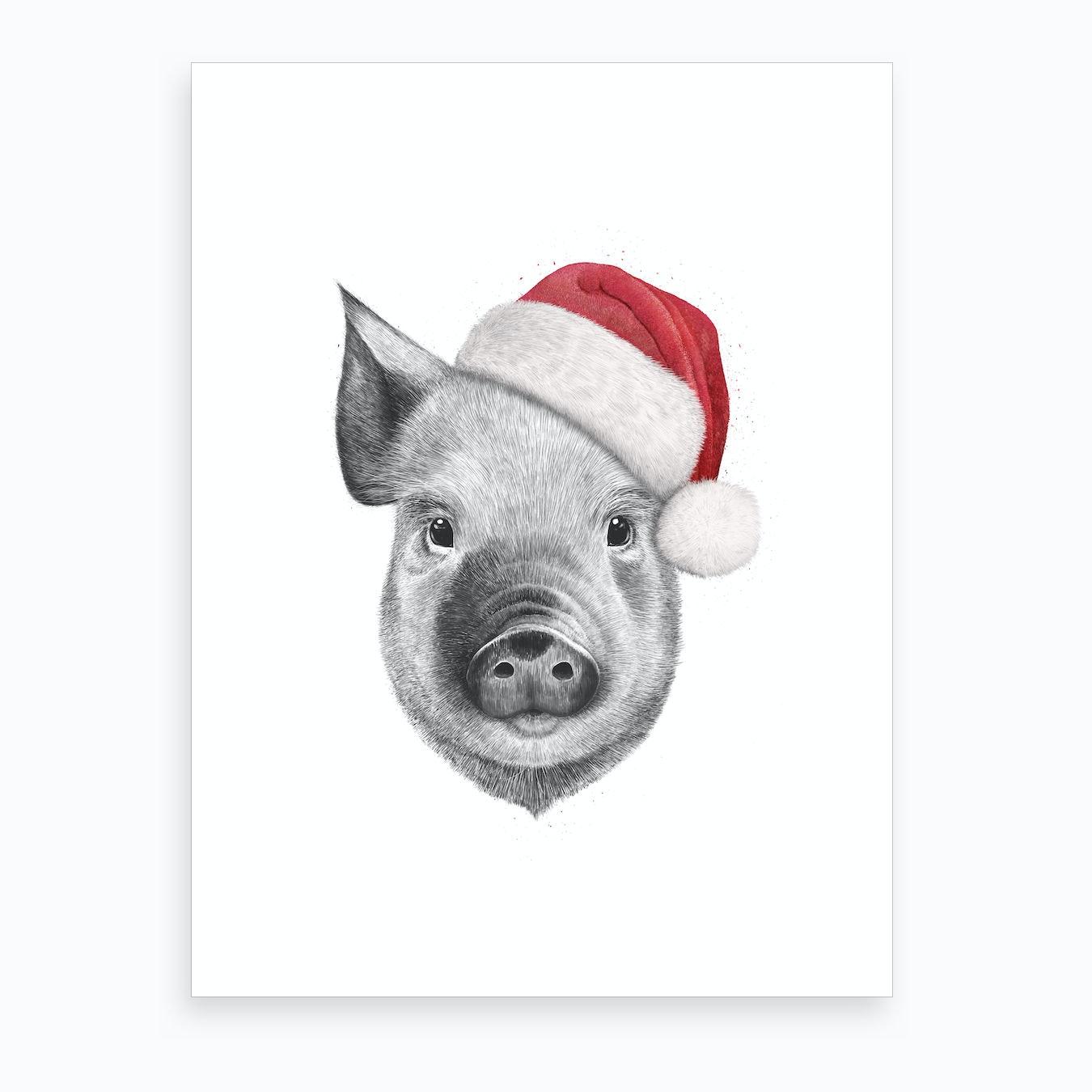 Christmas Pig.Christmas Pig Art Print
