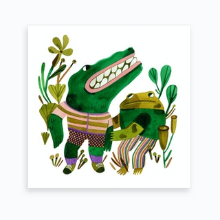 Alligator and Toad Art Print